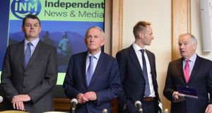 INM CEO  Robert Pitt (left) beside chairman  Leslie Buckley,  with fellow directors Ryan Preston and Jerome Kennedy at the Independent News & Media egm recently. Photograph: Cyril Byrne / THE IRISH TIMES