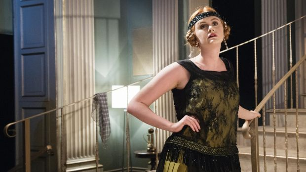 "Kitty (Kate Gilmore): ""Vert anise (snot green) silk crepe dress with black Chantilly lace. The jet-beaded fringe around the waist is from an original piece of jet from the 20s found in Kentish Town,"" says Peter O'Brien.Photograph: Agata Stoinska"
