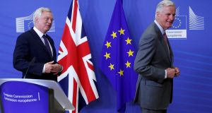 UK secretary of state for exiting the European Union David Davis (left) and the European Commission's chief Brexit negotiator Michel Barnier at the start of a first full round of talks on Britain's divorce terms from the European Union. Photograph: REUTERS/Yves Herman