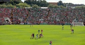 Cork and Limerick in action in the Munster senior hurling final of 2014 in Páirc Uí Chaoimh. Photograph: James Crombie/Inpho