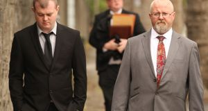 Robert Cusack and Alan McNamara  arrive at the Central Criminal Court in Dublin. Photograph: Collins Courts.