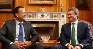 Taoiseach Leo Varadkar with  CEO Bank of America Brian Moynihan at Government Buildings on July 21st. Photograph: Jason Clarke
