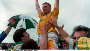Declan D'Arcy celebrates Leitrim's storied Connacht final win in 1994. Photograph: Tom Honan/Inpho