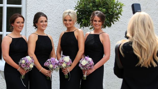 Bridesmaids Ruth Wade, Gemma Harris, Laura Kinch and Marion O'Brien at the wedding of Minister for Health Simon Harris and Caoimhe Wade at St Patrick's Church, Kilquade, Co Wicklow. Photograph: Colin Keegan/Collins