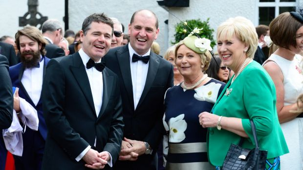 Paschal Donohoe, Paul Kehoe, Frances Fitzgerald and Heather Humphreys at the wedding of Simon Harris and Caoimhe Wade in St Patrick's Church, Kilquade, Co Wicklow. Photograph: Cyril Byrne