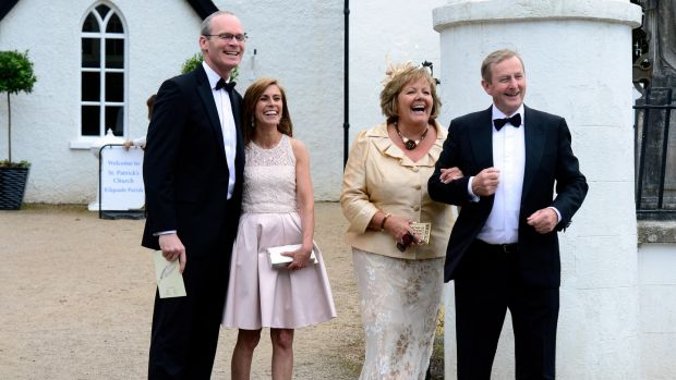 Simon Coveney, Ruth Coveney, Fionnuala Kenny and Enda Kenny at the wedding of Simon Harris and Caoimhe Wade in St Patrick's Church Kilquade, Co Wicklow. Photograph: Cyril Byrne