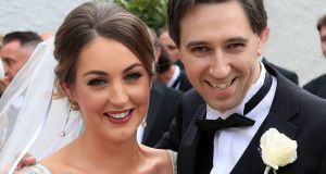 Minister for Health Simon Harris and his bride, Caoimhe Wade, after their wedding at St Patrick's Church, Kilquade, Co Wicklow. Photograph: Colin Keegan/Collins