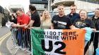 Jessica and Brian Spears waiting for U2 ahead of  the concert at Croke Park. Photograph: Cyril Byrne/The irish times