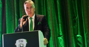 FAI chief executive John Delaney speaks at the AGM in Kilkenny. Photograph:  Ramsey Cardy/Sportsfile