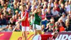 Mayo's Evan Regan appeals after  a point  is waved wide during the All-Ireland SFC Round 4A Qualifier against Cork at the Gaelic Grounds in Limerick. Photograph: Cathal Noonan/Inpho