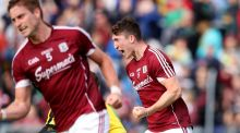 Galway's Johnny Heaney celebrates scoring his second goal in the All-Ireland SFC Round 4A qualifier against Donegal at   Markievicz Park. Photograph: Tommy Dickson/Inpho