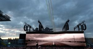 Planes fly overhead as U2 perform at Croke Park. Photograph: Cyril Byrne