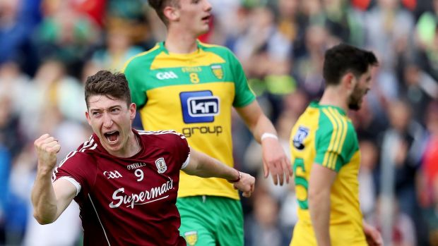 Galway's Johnny Heaney celebrates scoring a goal. Photograph: Tommy Dickson/Inpho