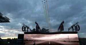 Planes fly overhead as U2 perform at Croke Park. Photograph: Cyril Byrne/The Irish Times