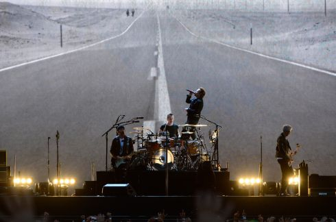 U2 during their Joshua Tree tour performance at Croke Park. Photograph: Cyril Byrne/The Irish Times