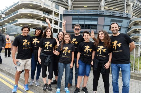 The Alves, Spinola and Almeda families from Madeira on Jones's Road ahead of the U2 gig at Croke Park. Photograph: Cyril Byrne/The Irish Times