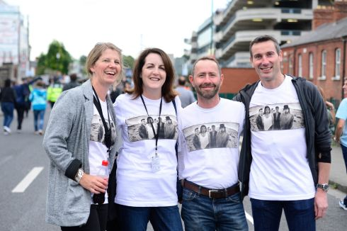 Carolyn Lowes, Nicole Jones, Rich Jones and Tim Lowes all from Yorkshire looking forward to the concert. Photograph: Cyril Byrne/The Irish Times