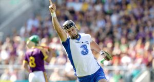 Waterford's Maurice Shanahan celebrates scoring a point in  the All-Ireland Hurling quarter-final against Wexford at Páirc Uí Chaoimh. Photograph: Morgan Treacy/Inpho