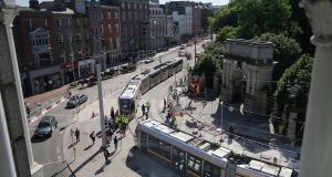 Luas cross-city tram testing in Dublin. Ibec wants more money to be spent on infrastructure.