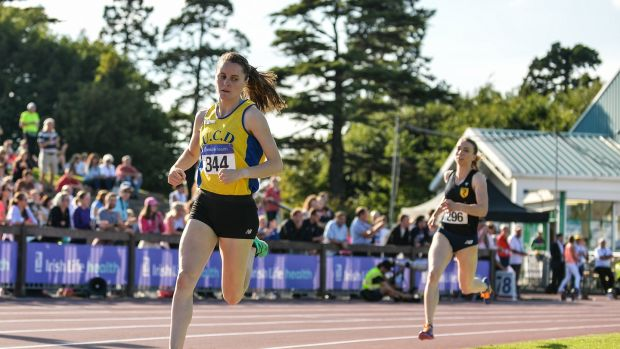 Ciara Mageean of UCD AC, on her way to winning the Women's 800m at Morton Stadium. Photograph: Sportsfile