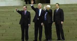 David Trimble, Bill Clinton, Seamus Mallon and Tony Blair at Stormont in 2000. Photograph: Bryan O'Brien