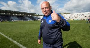 Waterford manager Derek McGrath celebrates after the Wexford game. Photograph: Morgan Treacy/Inpho