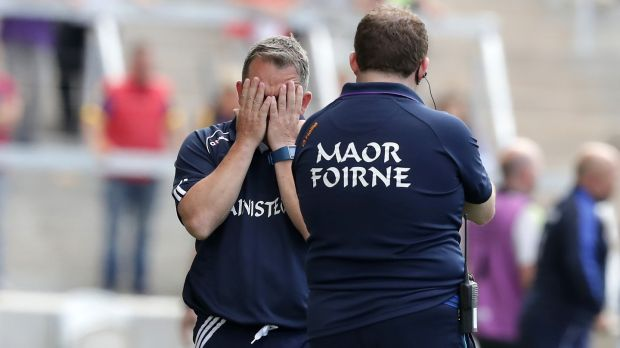 Wexford manager Davy Fitzgerald with selector Seoirse Bulfin. Photograph: Morgan Treacy/Inpho