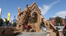 Galway locals demolish 'Aula Maxima' replica in Eyre Square