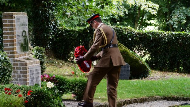 Col Max Walker, the British defence attaché in Ireland, lays a wreath during the commemoration ceremony at the birthplace museum of Francis Ledwidge to mark the centenary of his death.Photograph: Cyril Byrne
