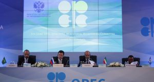 Saudi Arabian Energy Minister Khalid al-Falih, Russian Energy Minister Alexander Novak, Kuwaiti Oil Minister Essam al-Marzouq and OPEC Secretary General Mohammad Barkindo attend a meeting of the 4th OPEC-Non-OPEC Ministerial Monitoring Committee in St. Petersburg. (Reuters)
