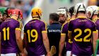 Wexford's Davy Fitzgerald speaks to his team before the game on Sunday. Photograph: James Crombie/Inpho