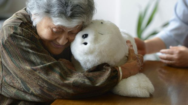 An elderly woman holds a seal-shaped therapy robot. Photograph: Kyodo News via Getty Images