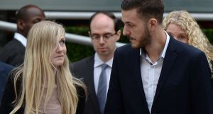 Chris Gard (R) and Connie Yates, the parents of terminally-ill 11-month-old Charlie Gard, arrive at the Royal Courts of Justice in London. Photograph: Chris J Radclifffe/APF