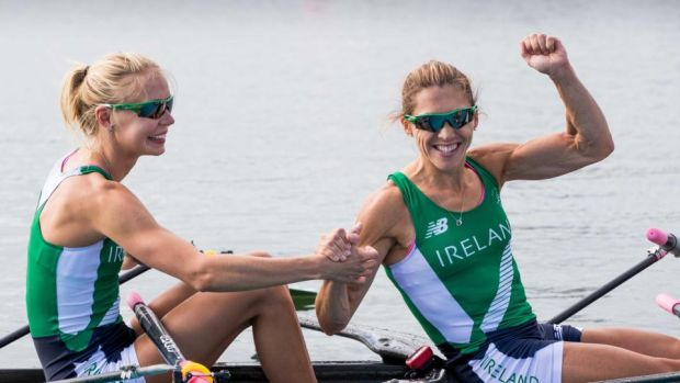 Sinead Lynch (right) celebrates with Claire Lambe qualifiying for the finals in Rio. Photograph: Morgan Treacy/Inpho