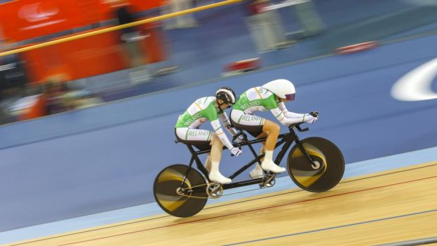 Catherine Walsh and her pilot Francine Meehan in the Individual Pursuit at the London Paralympics. Photograph: Greg Smith/Inpho