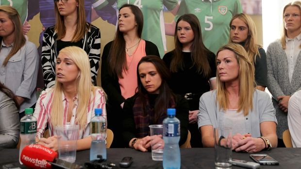 The Irish women's squad air their greviances at a press conference earlier this year.