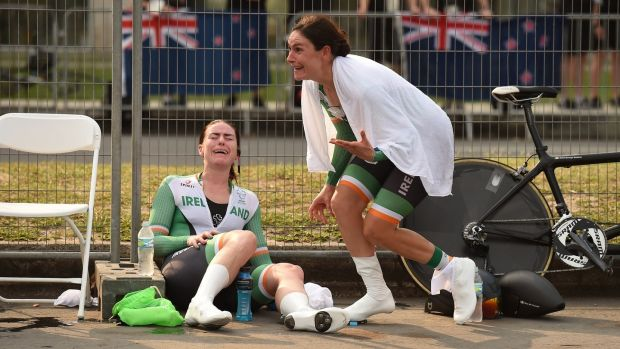 Katie-George Dunlevy and her pilot Eve McCrystal, react as they are told they have won gold in Rio. Photograph: Diarmuid Greene/Sportsfile