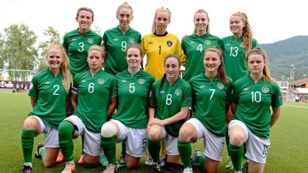 Ireland's Under-19 team ahead of their semi-final against the Netherlands in 2014. Photograph: Inpho