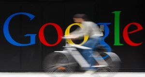 This year Google is expected to generate about $73.75bn   in net digital ad revenue worldwide, a 17.8%  jump from a year earlier. Photograph: Reuters/Christian Hartmann