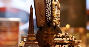 A chocolate model of the Eiffel Tower is displayed at the Swiss chocolate maker Lindt store in Paris. (Photograph: Reuters)