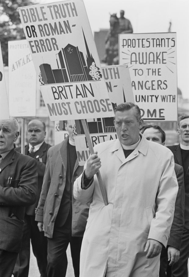 Ian Paisley leads an anti-Catholic demonstration from Trafalgar Square to Downing Street, London in 1967. Photograph: John Downing/Express/Hulton Archive/Getty Images