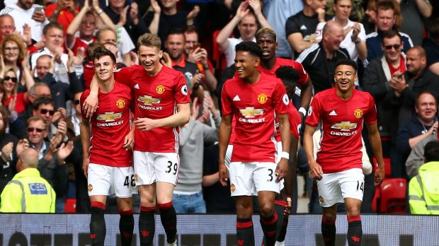 Manchester United gave academy players the most minutes out of any Premier League club last year, including four debutants against Crystal Palace on the final day of the season. Photo: Dave Thompson/Getty Images