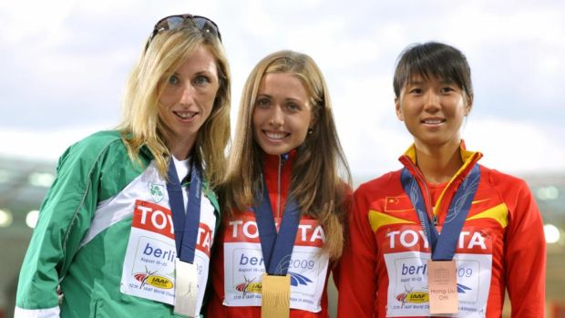 Olive Loughnane shares the podium with Russia's Olga Kaniskina and China's Hong Liu in 2009. The Russian was later stripped of her gold medal. Photograph: Getty Images)