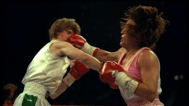 Deidre Gogarty and Christy Martin trade blows during their fight in Las Vegas. Photograph: Al Bello/Allsport