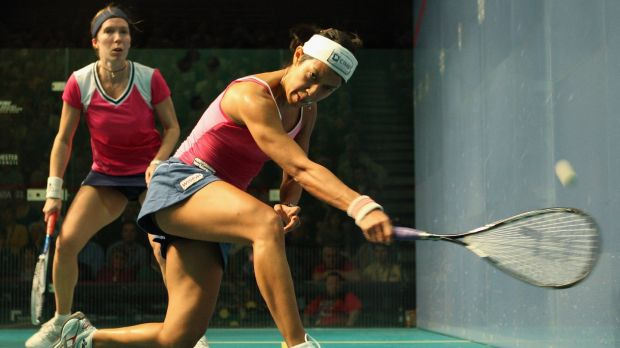 Madeline Perry (left) in action against Nicol David. Photograph: Bryn Lennon/Getty Images