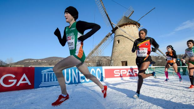 Fionnuala Britton on her way to European Cross Country gold in 2012. Photograph: Sasa Pahic Szabo/Inpho