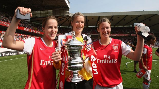 Republic of Ireland and Arsenal's Yvonne Tracy, Emma Byrne and Ciara Grant with the FA Women's Cup in 2008. Photograph: Getty Images