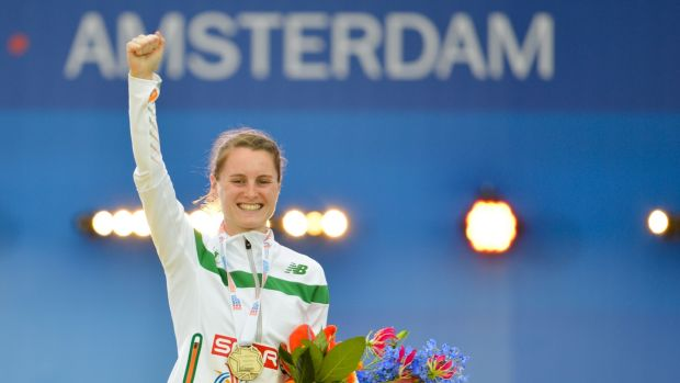 Ciara Mageean celebrates with her bronze medal in Amsterdam last year. Photograph: Karel Delvoije/Inpho