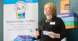 Dr Maeve Hurley, chief executive and co-founder of Ag Éisteach, speaking at the launch of its Able Training Programme for front-line workers. Photograph: Darragh Kane