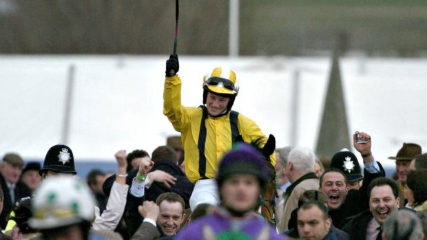 Jockey Nina Carberry after winning with Dabiroun at Cheltenham. Photograph: Brendan Moran/Sportsfile